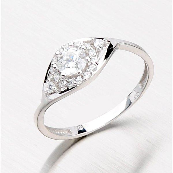 Prsten z bílého zlata se zirkony 116-0584
