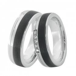 Ocelové snubní prsteny s karbonem SC-88001