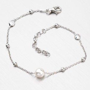 Stříbrný náramek s perlou a zirkony B1400586-0398-SLX
