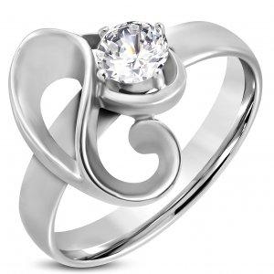 Ocelový prsten se zirkonem GRCZ177