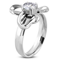Ocelový prsten se zirkonem GNRE082