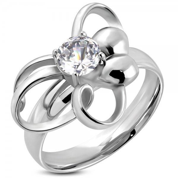Ocelový prsten se zirkonem GRCZ184