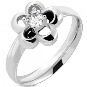 Ocelový prsten ve tvaru kytičky GNRE060