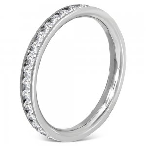 Ocelový prsten s krystaly GTRM085