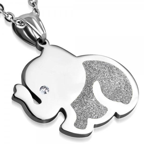 Ocelový přívěsek - slon se zirkonem GDPA688