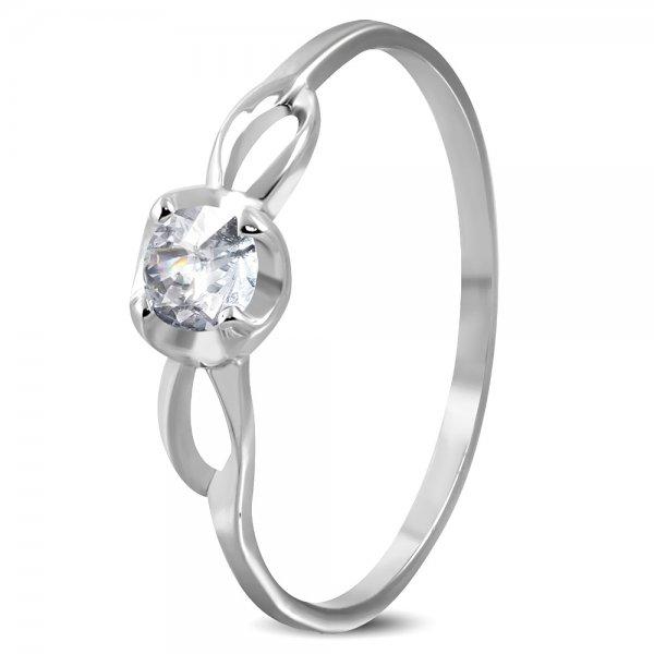 Prsten se zirkonem z oceli GZRC219