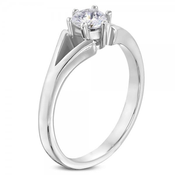 Prsten z oceli se zirkonem GRCZ078