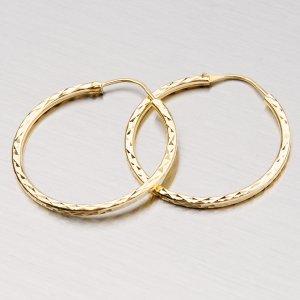 Zlaté kruhy 28 mm gravírované 3-20007