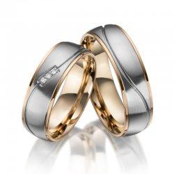 Ocelové snubní prsteny se zirkony SP-ES-021
