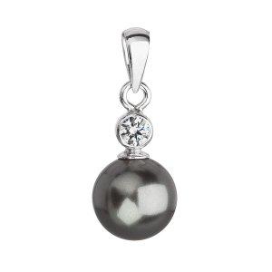 Stříbrný přívěsek s krystalem Swarovski a šedou kulatou perlou 34201.3 34201.3 GREY