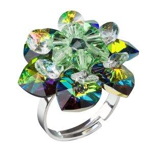 Stříbrný prsten s krystaly Swarovski zelená kytička 35012.5 35012.5-001VM