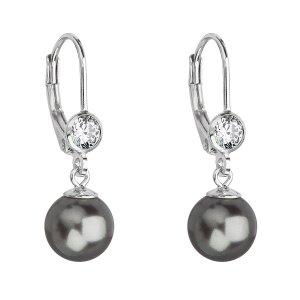 Stříbrné náušnice visací s perlou Swarovski šedé kulaté 31196.3 31196.3 GREY