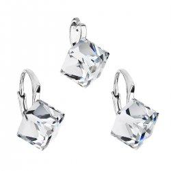 Sada šperků s krystaly Swarovski náušnice a přívěsek bílá kostička 39111.1 39111.1 KRYSTAL