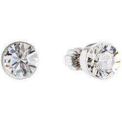 Stříbrné náušnice pecka s krystaly Swarovski bílé kulaté 31113.1 31113.1-001