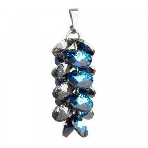 Stříbrný přívěsek s krystaly Swarovski modrý hrozen 34195.5 34195.5 BERMUDA BLUE