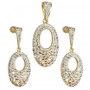 Sada šperků s krystaly Swarovski náušnice a přívěsek zlatý ovál 39075.6 39075.6 GOLD AU