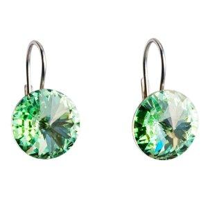 Stříbrné náušnice visací s krystaly zelené kulaté 31106.3 31106.3
