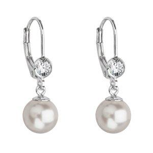 Stříbrné náušnice visací s perlou Swarovski bílé kulaté 31196.1 31196.1 BÍLÁ