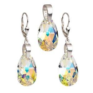 Sada šperků s krystaly Swarovski náušnice a přívěsek AB efekt slza 39049.2 39049.2