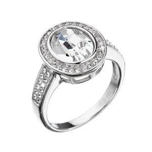 Stříbrný prsten s krystaly Swarovski bílý 35048.1 35048.1 KRYSTAL