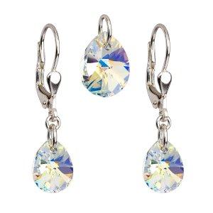 Sada šperků s krystaly Swarovski náušnice a přívěsek AB efekt slza 39083.2 39083.2-001AB