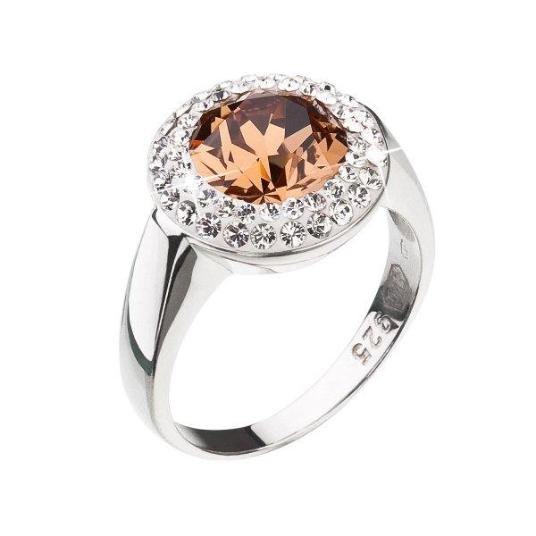 Stříbrný prsten s krystaly Swarovski hnědý kulatý 35026.3 lt. smoked topaz 35026.3 LT. SMOKED TOPAZ