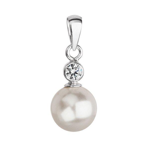 Stříbrný přívěsek s krystalem Swarovski a bílou kulatou perlou 34201.1 34201.1 BÍLÁ