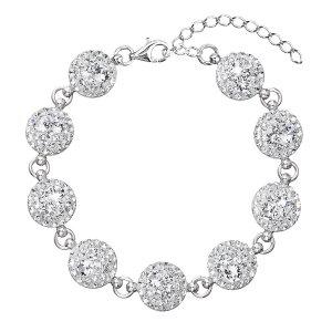 Stříbrný náramek se Swarovski krystaly bílý 33048.1 33048.1 KRYSTAL