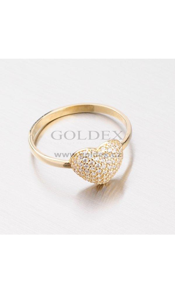 4e9ea80d3 Zlatý prsten se srdcem ze zirkonů 11-094 : Goldex.cz