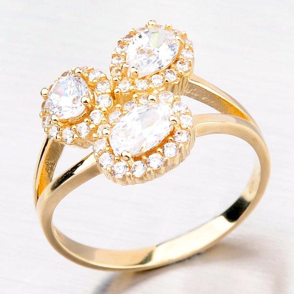 Prsten ze žlutého zlata se zirkony 11-084