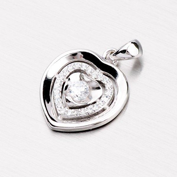 Stříbrné srdce se zirkony PXX27170036
