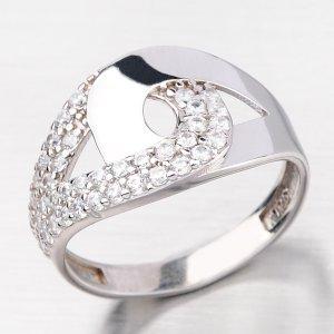 Stříbrný prsten se zirkony HK-518-OKS