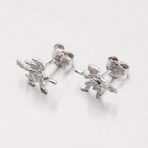 Stříbrné náušnice - pecky s čarodějnicí M6045118