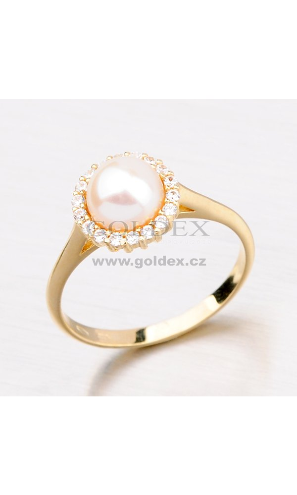 5b7b42764 Zlatý prsten s perlou 11-085 : Goldex.cz