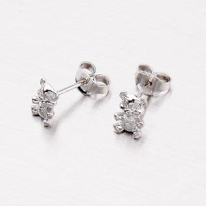 Stříbrné náušnice - pecky s medvídkama M604564