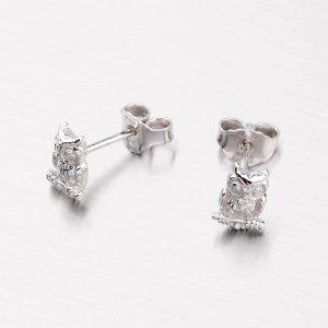 Stříbrné náušnice - pecky se sovičkami M604567