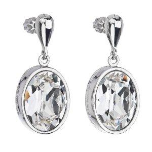 Stříbrné náušnice visací s krystaly Swarovski bílý ovál 31166.1 31166.1 KRYSTAL