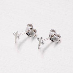 Stříbrné náušnice - křížek M608113