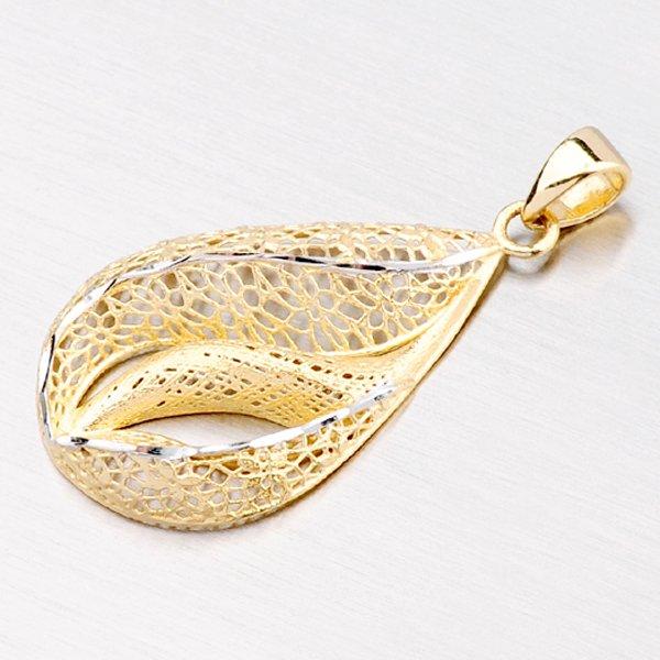 Zlatý přívěsek s filigrány a gravírováním ve tvaru kapky 13-130