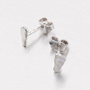 Stříbrné náušnice - pecky ve tvaru chodidla M6042Z