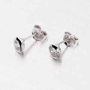 Stříbrné náušnice - pecky se zirkony MOR1445D4
