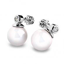 Náušnice s perlou a diamanty 10869B-DIA
