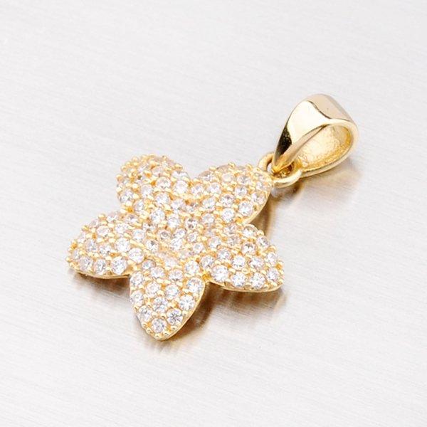 Zlatý přívěsek ve tvaru květiny se zirkony 13-134