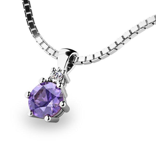 Přívěsek s tanzanitem a diamantem 10859B-TZNT