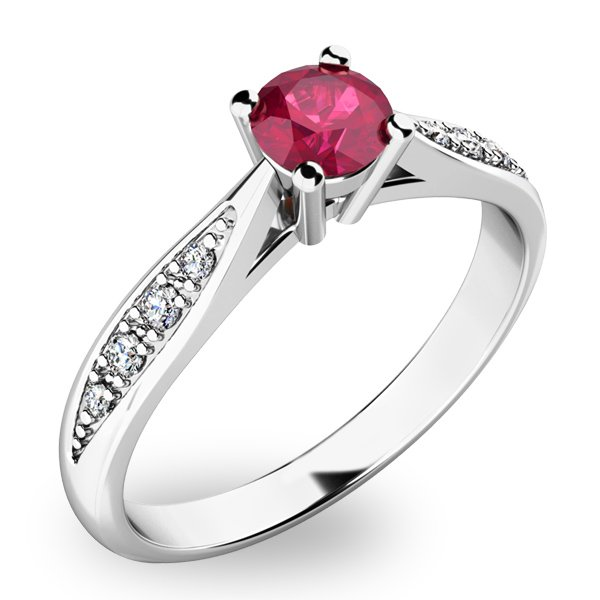 Dámský prsten s rubínem a diamanty 10745B-RUB