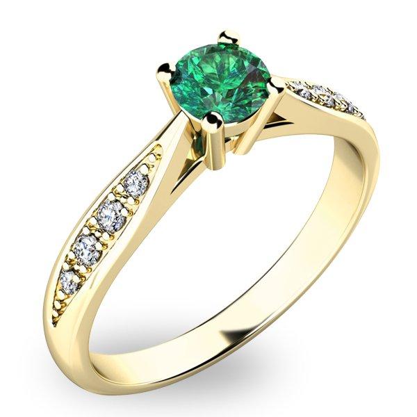 Dámský prsten se smaragdem a diamanty 10745Z-SMAR