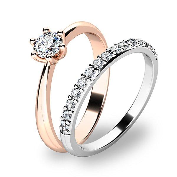 Set prstenů z růžového a bílého zlata 10819-SET01-RB