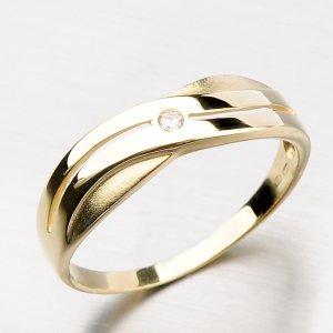 Krásný symetrický prsten ze žlutého zlata DZ1562-ZL