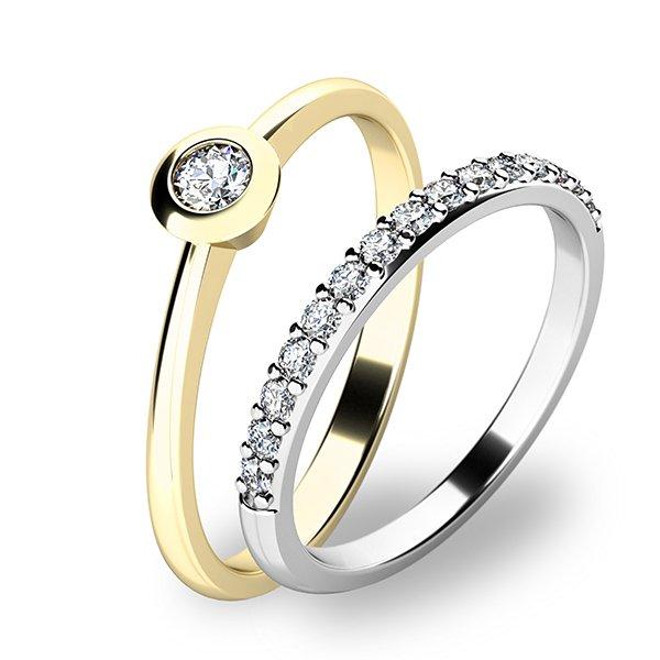Set zásnubních prstenů ze žlutého a bílého zlata 10807-SET01-ZB