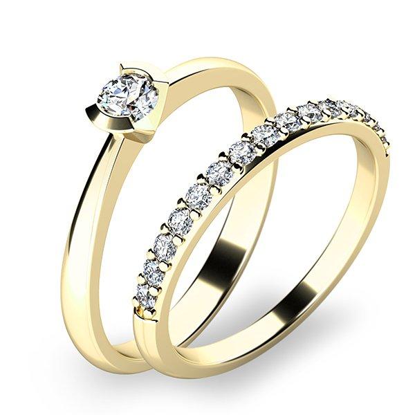 Krásný set zásnubních prstenů ze žlutého zlata 10840-SET01-ZZ